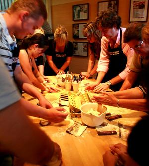 Students at Cucina Italia cooking class.